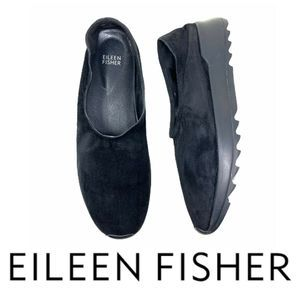 Eileen Fisher Sz 9.5 Black Nubuck Leather Loafers